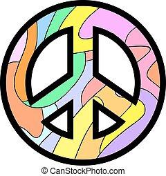 fred, farverig, ikon