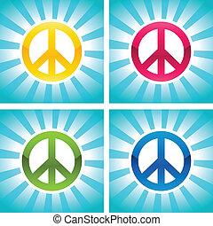 fred, farverig, tegn