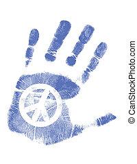 fred, /, hånd, vektor, tryk, tegn