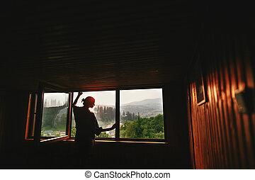fred, silhuett, synhåll, ögonblick, utrymme, hipster, solnedgång, trä, sommar, stuga, stilla, kvinna, fönster, mountains, text