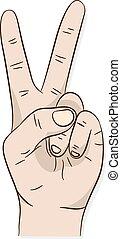 fred underskriv, sejr, hånd, eller