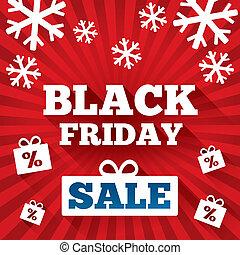 fredag, försäljning, bakgrund., svart fond, jul