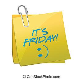 fredag, illustration, design, post, dens, lycklig