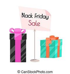 fredag, svart, försäljning, banner.