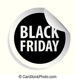 fredag, svart, försäljning, etikett