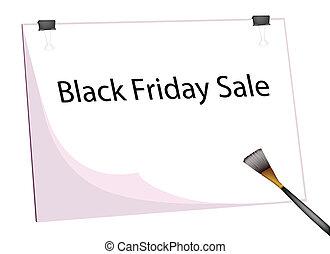 fredag, svart, ord, målarpensel, skrivplatta, försäljning