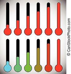 freddezza, concepts., clima, grafica, hotness, livello, termometro, semplice, temperatura