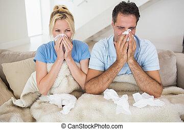 freddo, letto, coppia, sofferenza