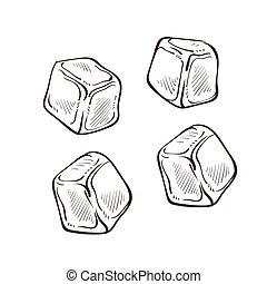 freddo, raffreddamento, cubi, pezzi, disegni, isolato, ...