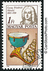 Frederic Handel - HUNGARY - CIRCA 1985: stamp printed by...