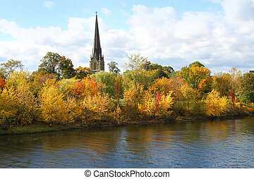 Fredericton church - View of cathedral spire and belltower ...