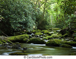 fredlig, flod, flytande, över, rockar