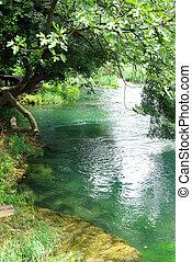 fredlig, flod