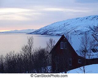 fredlig, solnedgång, in, den, vinter