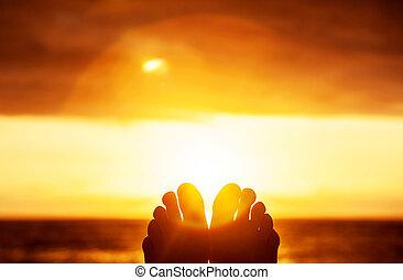 fredlig, solnedgång