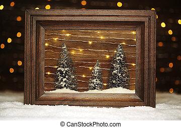 fredlig, vinter scen, in, ram, med, träd, och, snö