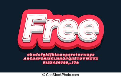 Free 3d  red text template design