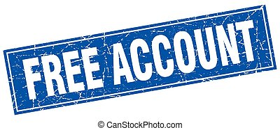 free account blue square grunge stamp on white