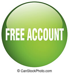 free account green round gel isolated push button