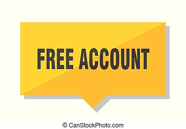 free account yellow square price tag