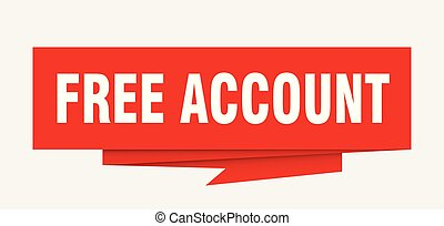 free account sign. free account paper origami speech bubble. free account tag. free account banner