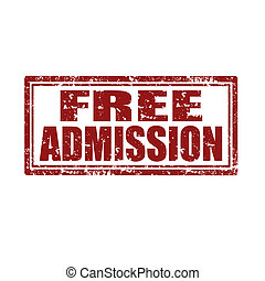 Free Admission-stamp - Grunge rubber stamp with text Free...