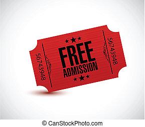 free admission ticket illustration design over a white...