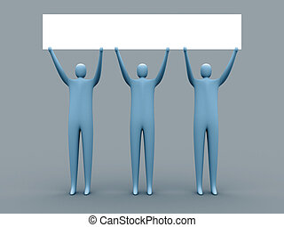Free advertising - 3d people holding an empty template for...