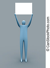 Free advertising - 3d person holding an empty template for...