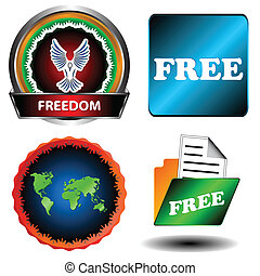 Free and freedom set on a white background