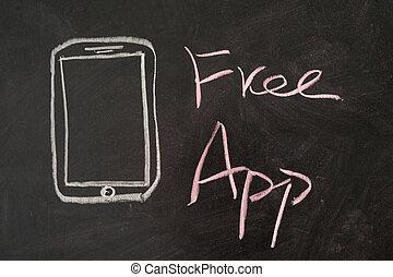 Free App word with mobile phone on blackboard