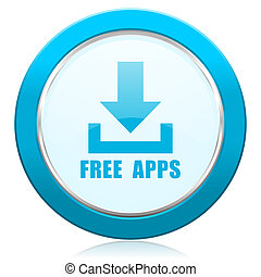 Free apps blue chrome silver metallic border web icon. Round button for internet and mobile phone application designers.