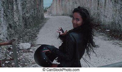 Free beautiful woman motorcycle rider