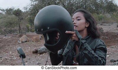 Free beautiful woman motorcycle rider - Portrait of...