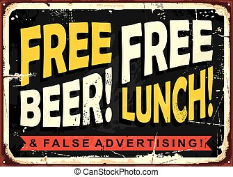 Retro funny sign layout with promotional message - Free...