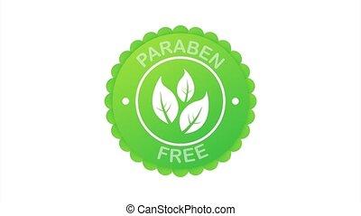 free., bio, symbole, eco, product., signe., paraben, vert, organique, étiquette, symbole., illustration., stockage, naturel