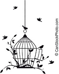 free birds, vector - free birds with open birdcage, vector...
