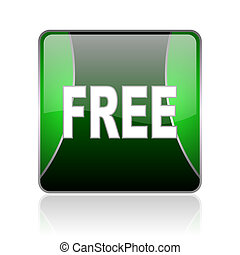 free black and green square web glossy icon