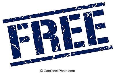 free blue grunge square vintage rubber stamp