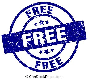 free blue round grunge stamp