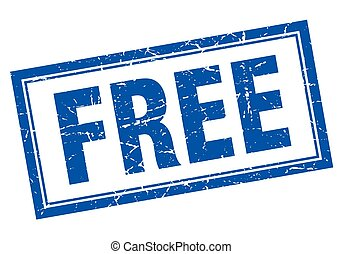 free blue square grunge stamp on white