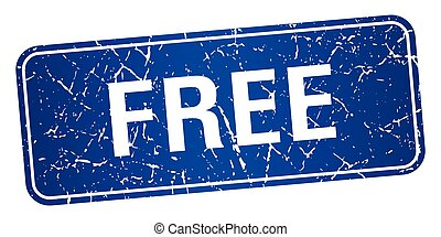free blue square grunge textured isolated stamp