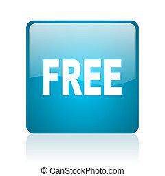 free blue square web glossy icon