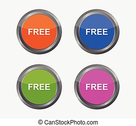 free button icon illustrated in vector on white background