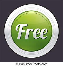 Free button. Vector green round sticker.