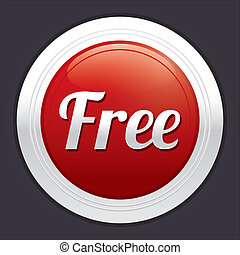 Free button. Vector red round sticker.
