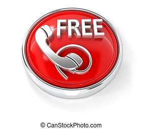 Free call icon on glossy red round button