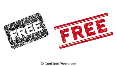Free Card Mosaic and Distress Free Stamp Seal with Lines