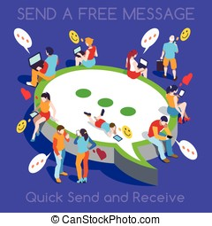 Free Chat Set People Isometric - Online Realtime Chat...