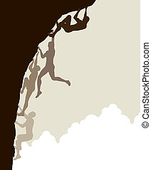Free climb - Editable vector silhouette sequence of a man...